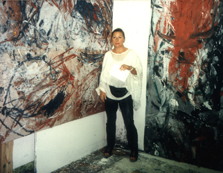 Inge with Action Paintings